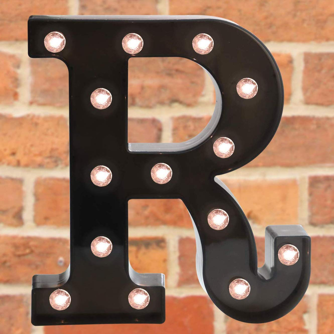 Pooqla Decorative LED Illuminated Letter Marquee Sign - Alphabet Marquee Letters with Lights for Wedding Birthday Party Christmas Night Light Lamp Home Bar Decoration R, Black