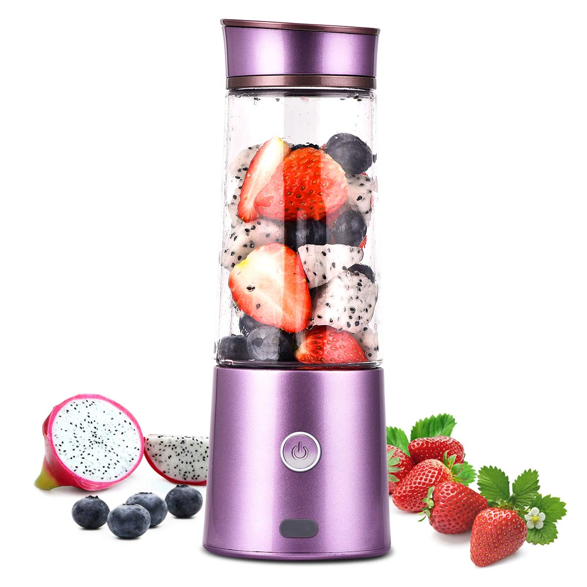 Kacsoo Portable Smoothie Blender, M650 USB Blender for Shakes and Smoothies, Fruit Mixer Juicer Cup, Multifunctional Single Serve Personal Travel Blender, with 5200 mAh Rechargeable Battery, FDA BPA Fre (Purple)