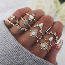 Zoestar Vintage Rings Joint Ring Set Knuckle Ring SetCrystal Ring Jewelry for Women