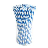 Paper Drink Straws Biodegradable Black - Value Pack 100 Pcs Eco-frendly Straws Bulk for Party Supplies | Birthday | Wedding | Bridal | Baby Shower | DIY Idea (Blue)