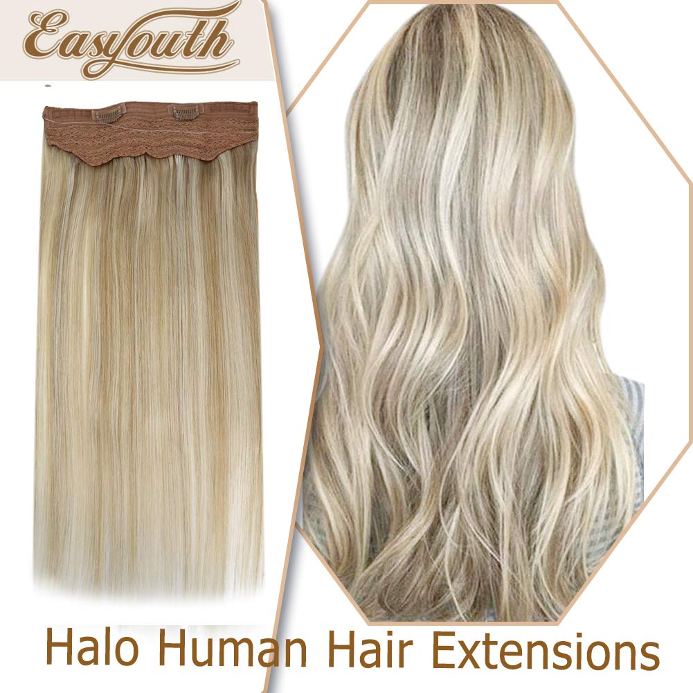 Easyouth 22 Inch Real Human Hair Halo Extensions Piano Color 27P613 Honey Blonde Highlighted Bleach Blonde Halo Real Hair Extensions 100g Secret Wire Hairpiece for Women