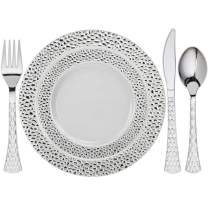"""Tiger Chef Heavy Duty Silver Hammered Rim Disposable Party Supplies Set Service For 60 Guests Includes 60 10.25"""" Dinner Plates 60 7.5"""" Plates 60 Cutlery Sets Forks Spoons Knives BPA-Free 300-Pack"""