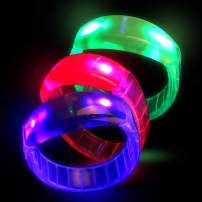 Fun Central 12 Pack - LED Bangle Bracelets for Adults & Kids - Assorted Colors