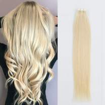 Sassina 8A Grade 20inch Platinum Ash Blonde Color Tape in Hair Extension With Double Side Seamless Reusable Glue in Skin Weft 20Pcs 50g per set (60 20inch)