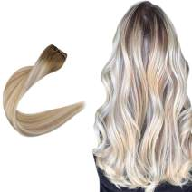 Easyouth Hand Tied Extensions (100g 22inches) Color Middle Brown Fading to Caramel Blonde Highlights with Platinum Blonde Real Human Hair, Sew in Extensions Full Head Hair Extensions for Wedding