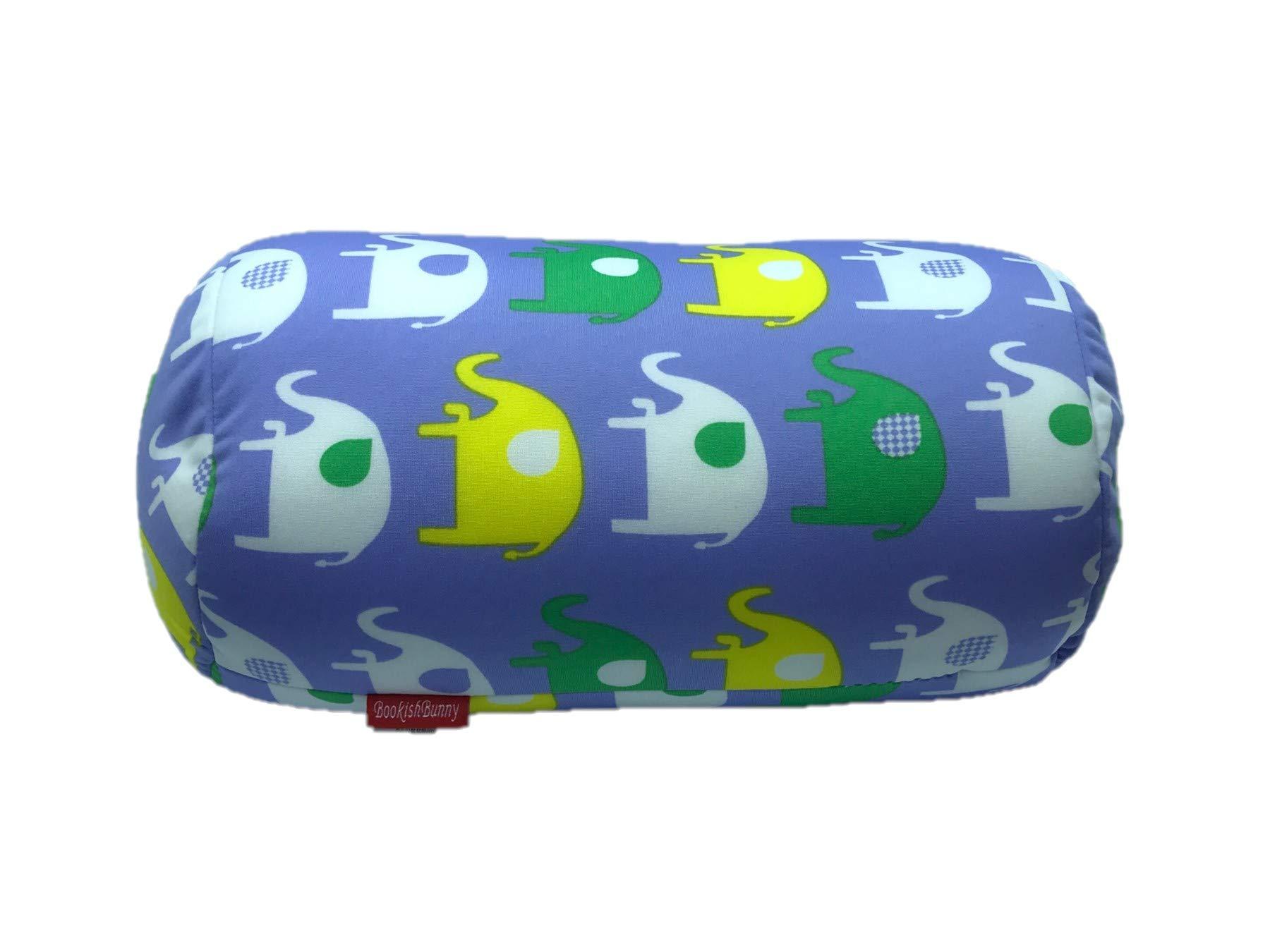 "Bookishbunny Home Office Chair Car Seat Cushion Micro Bead Roll Pillow 7"" x 12"" Head Neck Back Body Comfort (Elephant)"