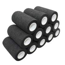 """COMOmed Self Adherent Cohesive Bandage Latex 4""""x5 Yards First Aid Bandages Stretch Sport Wrap Athletic Tape for Wrist Ankle Sprain and Swelling,Black(12 Rolls)"""