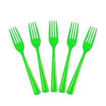 Exquisite Solid Color Premium Plastic Cutlery, Heavy Duty Plastic Disposable Forks - 50 Count - Lime