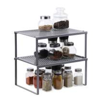 NEX Kitchen Cabinet And Counter Shelf Organizer, Expandable & Stackable, Silver