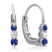 Dazzlingrock Collection 18K Ladies 3 Stone Hoop Earrings, White Gold