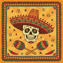 Baocicco 7x7ft Day of The Dead Backdrop Mexican Fiesta Sambrero Maracas Red Chilli Photography Background Dia DE Los Muertos All Soul's Day Decorations Birthday Party Baby Shower Photoshoot Props