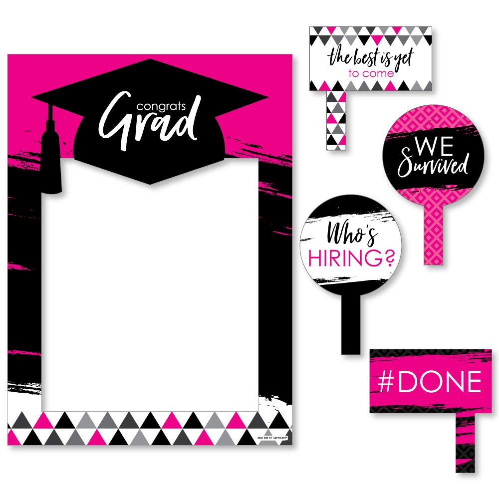 Pink Grad - Best is Yet to Come - Pink Graduation Party Selfie Photo Booth Picture Frame & Props - Printed on Sturdy Material