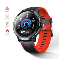 GOKOO Smart Watch Sport Activity Tracker Waterproof Smartwatch for Men with Blood Pressure Heart Rate Sleep Monitor Breathing Train Step Distance Calorie Full Touch Camera Music Control (Black-Red)