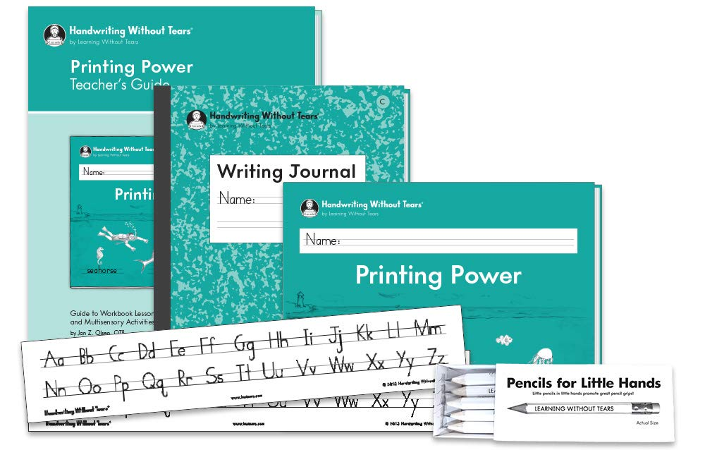 Handwriting Without Tears 2nd Grade Printing Bundle - Includes Printing Power Student Workbook, Teacher's Guide, Writing Journal C, Pencils for Small Hands