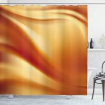 "Ambesonne Orange and Yellow Shower Curtain, Abstract Vivid Colors in Wavy Composition Fantasy Romantic Curves, Cloth Fabric Bathroom Decor Set with Hooks, 84"" Long Extra, Orange Yellow"