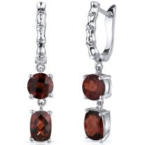 French Clip 4.50 Carats Garnet Checkerboard Cut Earrings in Sterling Silver Rhodium Finish