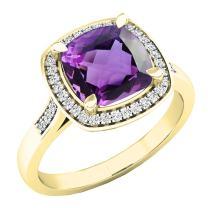 Dazzlingrock Collection 10K 8 MM Cushion Gemstone & Round White Diamond Ladies Bridal Halo Engagement Ring, Yellow Gold