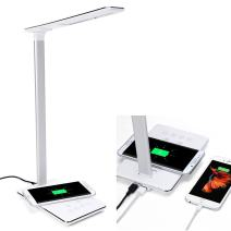 LED Desk Lamp Qi Wireless Charger with USB Charging Port, 5W Table Lamps for Bedroom Study Touch Control Dimmable Wireless Charging Nightstand Office Lamps Brightness Adjustable Timing Poweroff(White)