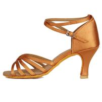 DKZSYIM Women's Satin Latin Dance Shoes Ballroom Performance Shoes Model LP-ZK