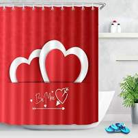 "LB Happy Valentine's Day Arrows Shower Curtain,with ""Be Mine"" Letters Pocket Load Two Hearts Mutual Affinity Love Theme Shower Curtain,Waterproof Fabric 78x72 Inch"