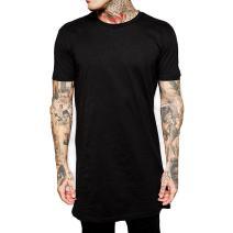YANWENFANG Men Longline Hip hop Basic Solid Color Tshirt Fashion Clothing Plus Size
