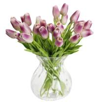 WAQIA HOUSE 30 Pcs Artificial Tulip Flowers Real Touch Tulips Fake PU Tulip Flower Bouquet for Home Wedding Party Office Decor