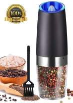 Sotech Gravity Electric Salt and Pepper Grinde, Automatic Pepper and Salt Mill Grinder with LED Light, Battery-Operated, Adjustable Coarseness, One Hand Operated, Black