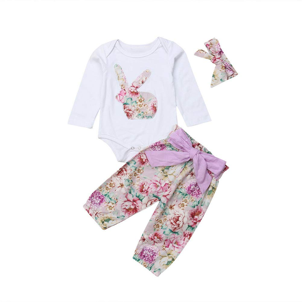 MA&BABY Baby Girl Clothes Long Sleeve Bunny Leopard Floral Romper Ruffle Pants with Headband 3Pcs Outfit Set Autumn