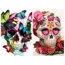 Diamond Painting Kits for Adults Kids,2 Pack 5D DIY Skull Diamond Art Accessories with Round Full Drill for Home Wall Decor - 11.8×15.7Inches