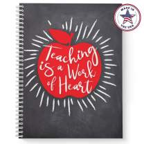 """Softcover Work of Heart 8.5"""" x 11"""" Teacher Spiral Notebook/Journal, 120 College Ruled Pages, Durable Gloss Laminated Cover, White Wire-o Spiral. Made in The USA"""
