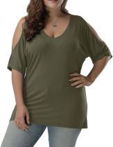 Allegrace Women Plus Size Tops V Neck Short Sleeve Batwing Top Cold Shoulder T Shirt