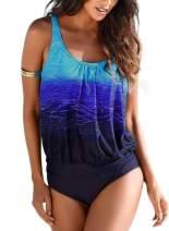 Aleumdr Women's Push Up Padded Printed Sporty Tankini Two Piece Swimsuits Bathing Suit Swimwear S-XXL