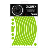 VFLUO CIRCULAR. motorbike retro reflective wheel stripes kit (1 wheel). 3M Technology. 10 mm width. Kawazaki Green