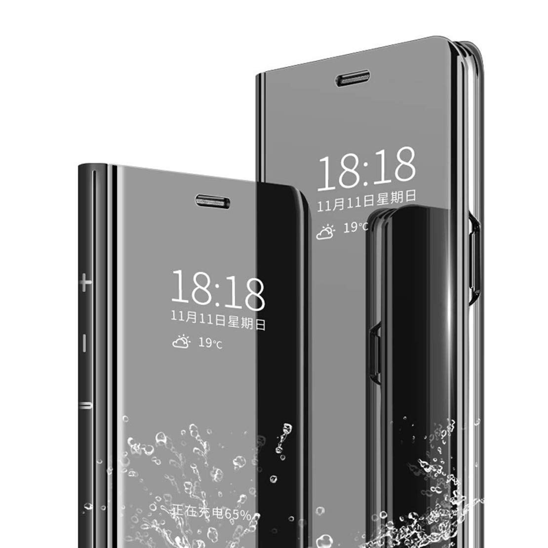LANYOS Compatible iPhone 11 Flip Case,Full Body Protection Clear S-View Mirror Hard PC Electroplate Plating Cover Built in Kickstand (6.1 inch 2019) (Black)