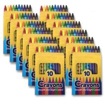 12 Pack Crayons - Wholesale Bright Wax Coloring Crayons in Bulk, 10 Per Box, 12 Box Bundle Art Set