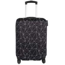 Explore Land Travel Luggage Cover Suitcase Protector Fits 18-32 Inch Luggage (Black Polygonal, L(27-30 inch luggage))