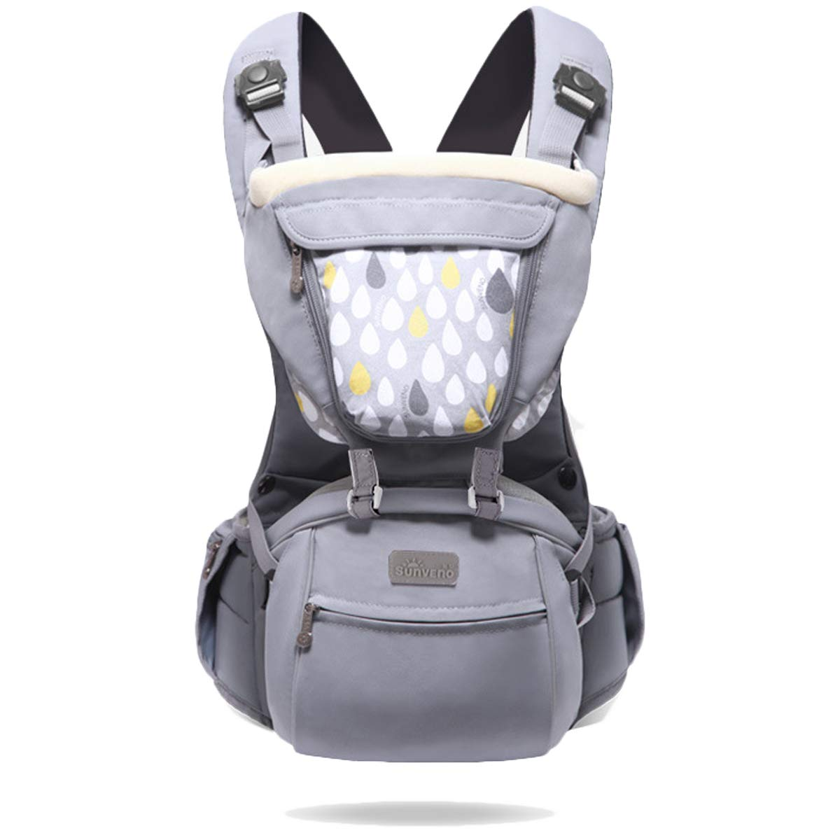 SUNVENO Baby Soft Carrier, 3-in 1 Ergonomic Hip Seat Carrier Waist Stool Perfect for Hiking Shopping Travelling, All Season, 8-35 lbs(Gray)