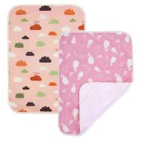 PEKITAS 2 Pack Waterproof Diaper Changing Pads Travel Friendly Super Soft Fabric Size 19.5 X 27.5 inches (Medium,0-1 Year),Pink Series
