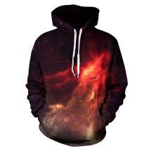 NEWCOSPLAY Unisex Realistic 3D Digital Print Pullover Hoodie Hooded Sweatshirt Blue Galaxy