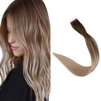 "Full Shine 18"" Seamless Tape in Hair Extensions Balayage Color #4 Fading to #18 Ash Blonde Balayage Color Glue in Hair Extensions Human Hair 2.5g Per Piece 50g Per Package"