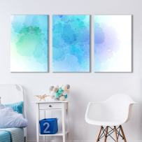 """wall26 - 3 Panel Canvas Wall Art - Faded Aqua Cloud Soft Watercolor Painting Decor - Giclee Print Gallery Wrap Modern Home Decor Ready to Hang - 16""""x24"""" x 3 Panels"""