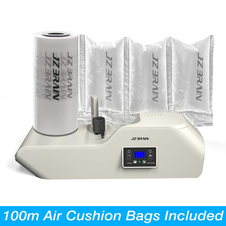 JZBRAIN Air Pillow Machine Air Pillow Maker Air Bubble Machine Air Cushion Machine Heating Up in 2 Minutes Speed 6.0-7.2 Meters Per Minute 100m Trial Run Film Roll Included (White)