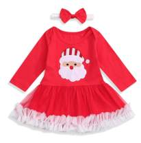 SEVEN YOUNG Toddler Baby Girl Christmas Outfit Infant Santa Claus Print with Lace Skirt Long Sleeve Cotton Dress Clothes