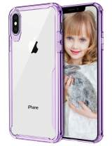 Wollony Clear Case for iPhone Xs MAX, Crystal Clear Thin Impact Resistant Phone Case for Girl Anti-Scratch Protective Durable TPU Bumper Cover for iPhone Xs MAX Support Wireless Charging - Purple