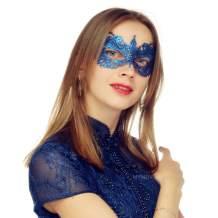 MYMENU Masquerade Mask for Women Luxury Venetian Mask Women's Lace Eye Mask for Masquerade Party Prom Ball Bar Costume Festival Carnival Mardi Gras (Butterfly Blue)