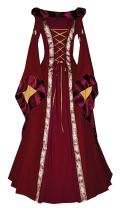 Lynwitkui Womens Medieval Costume Dress Renaissance Lace Up Victorian Irish Cosplay Hood Retro Gown Long Dress