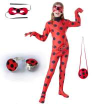 Kids Girl Ladybug Costume - Red Ladybird Little Beetle Dress Up Suit Jumpsuit Halloween Party Cosplay for Teen Toddler Child