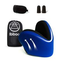 Ibboo-Travel-Neck-Pillow for -Airplane Supporting 360 Degrees 100% Pure Memory Foam Ultimate Rest & Best Traveling Comfort Experience Nap Anywhere with Contour Shaped Support for Chin & Head, Adults