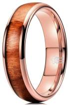 THREE KEYS JEWELRY 4mm 6mm Tungsten Wedding Ring Domed with Real Koa Wood Inlay Silver Rose Gold Band