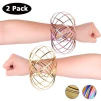 HAS Magic Flow Ring Spiral Spring Toy Multi Sensory Arm Spinner Toy Science Education and Interaction Flow Ring for Kids and Adults Magic Fluid Bracelet Spring Toys (Rainbow&Gold)